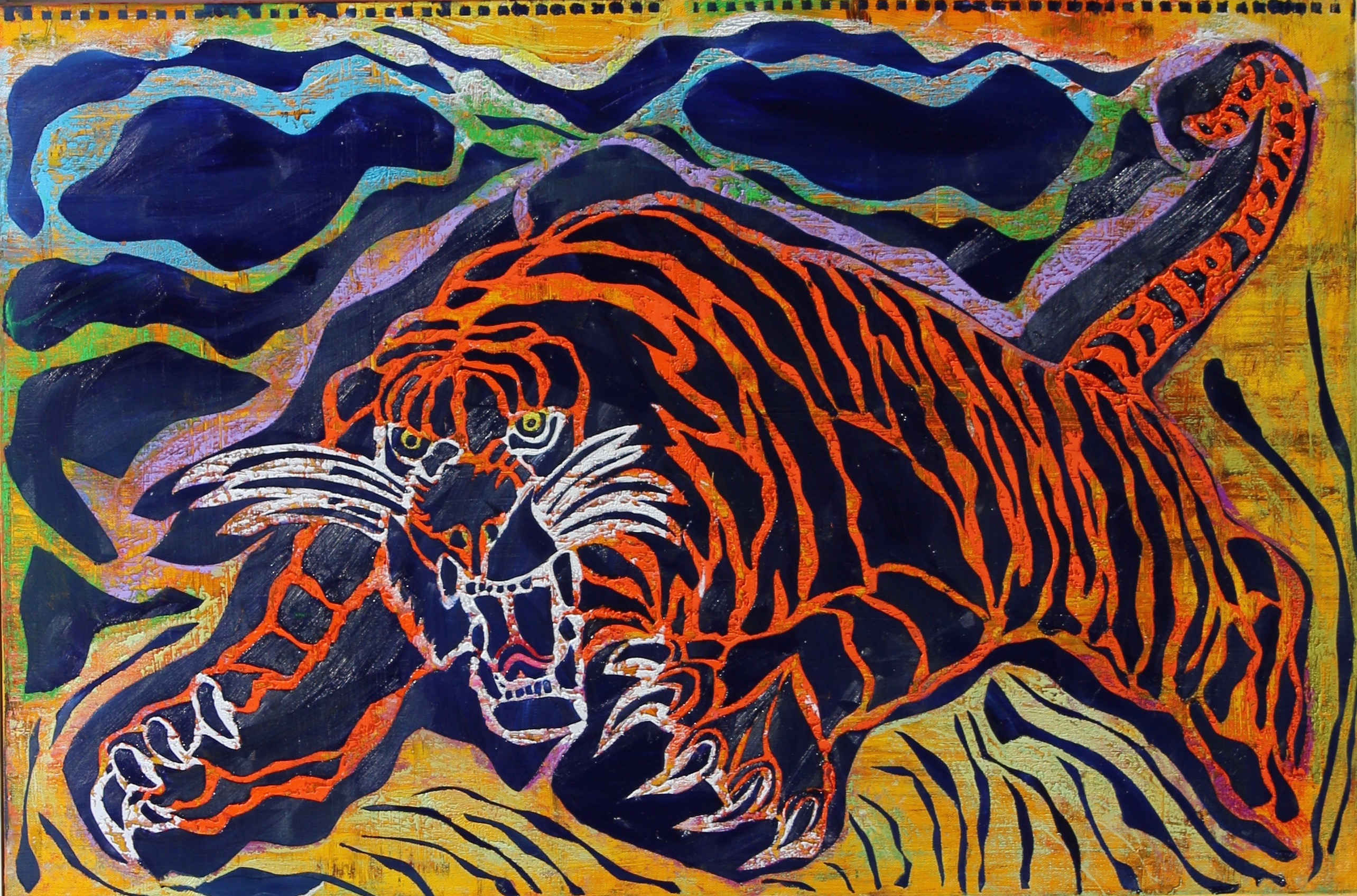 Tiger Attack Blue by Stephen Clegg at www.cleggart.com